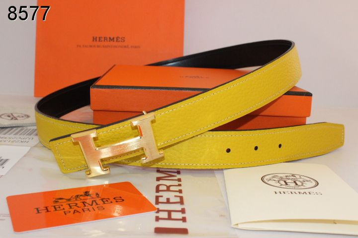 Yellow with Golden H Buckle Belt Hermes Womens Sale