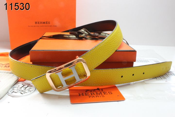 Womens Yellow with Golden/Silver H Buckle Belt Hermes Outlet