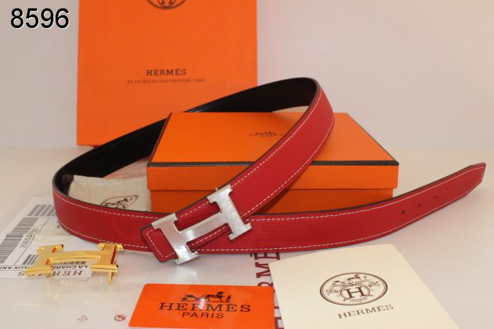Belt Red Hermes Womens with Silver H Buckle On sale