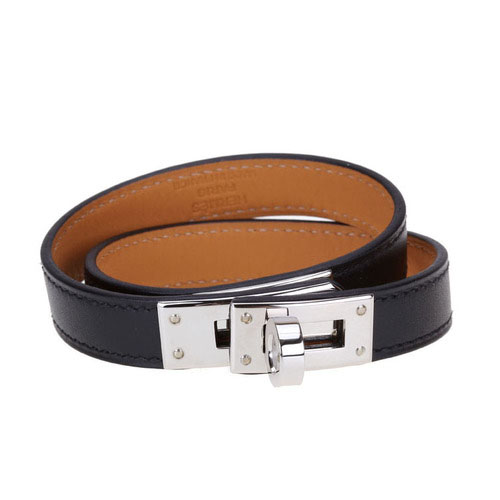 Hermes 10k Gold Kelly Double Tour Leather Bracelet