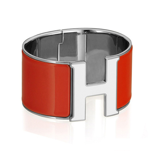 Hermes 1.5Inch Clic-Clac H Bracelet 10k White Gold With Red Enamel