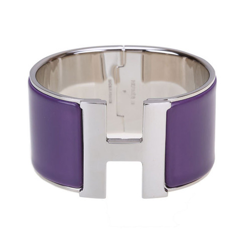 Hermes 1.5Inch Clic-Clac H Bracelet 10k White Gold With Purple Enamel