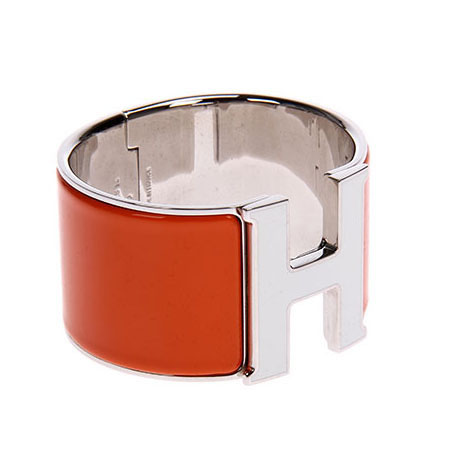 Hermes 1.5Inch Clic-Clac H Bracelet 10k White Gold With Orange Enamel