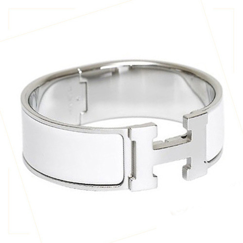 Hermes Silver Platinum Plated H Bracelet with White Enamel