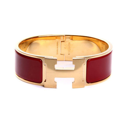 Hermes Gold Plated H Bracelet with Red Enamel
