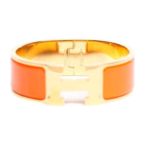 Hermes Gold Plated H Bracelet with Orange Enamel