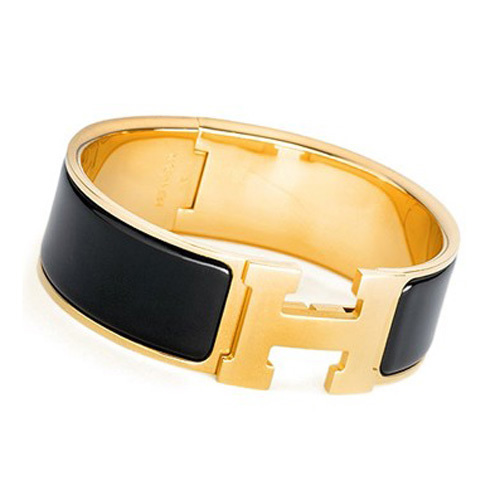 Hermes Gold Plated H Bracelet with Black Enamel