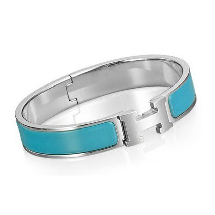 Hermes Silver Platinum Plated H Narrow Bracelet with Sky Blue Enamel