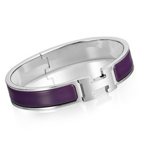 Hermes Silver Platinum Plated H Narrow Bracelet with Purple Enamel