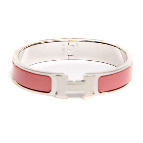 Hermes Silver Platinum Plated H Narrow Bracelet with Pink Enamel
