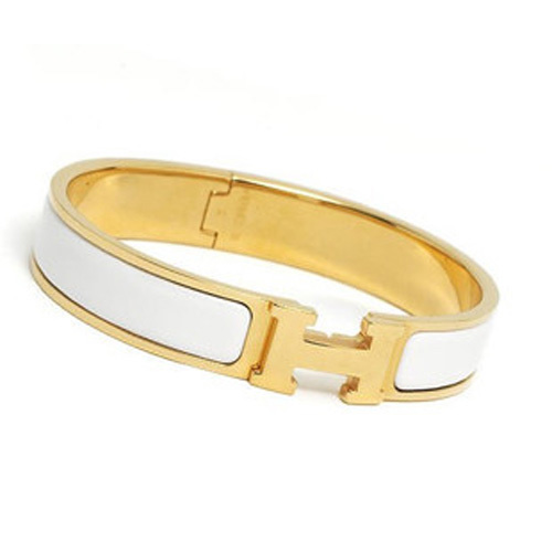 Hermes Gold Plated H Narrow Bracelet with White Enamel