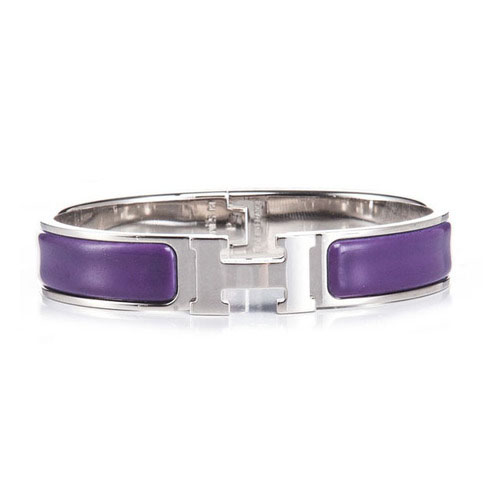Hermes Gold Plated H Narrow Bracelet with Purple Enamel