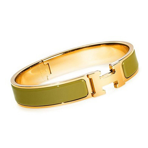 Hermes Gold Plated H Narrow Bracelet with Green Enamel