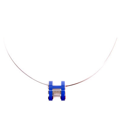 Hermes 10k White Gold Pop H Necklace with Purple Enamel