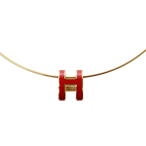 Hermes 10k Gold Pop H Necklace with Red Enamel