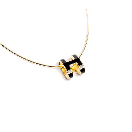 Hermes 10k Gold Pop H Necklace with Black Enamel