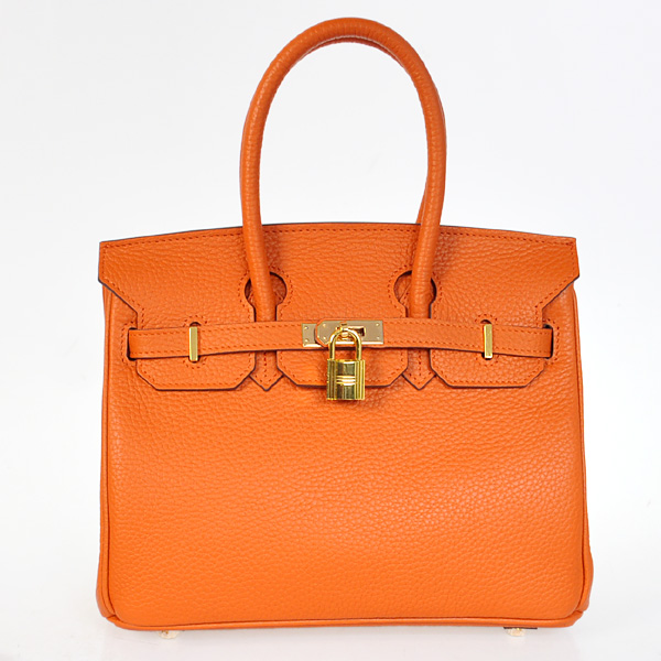 H25LSOG Hermes Birkin 25CM clemence leather in Orange with Gold hardware