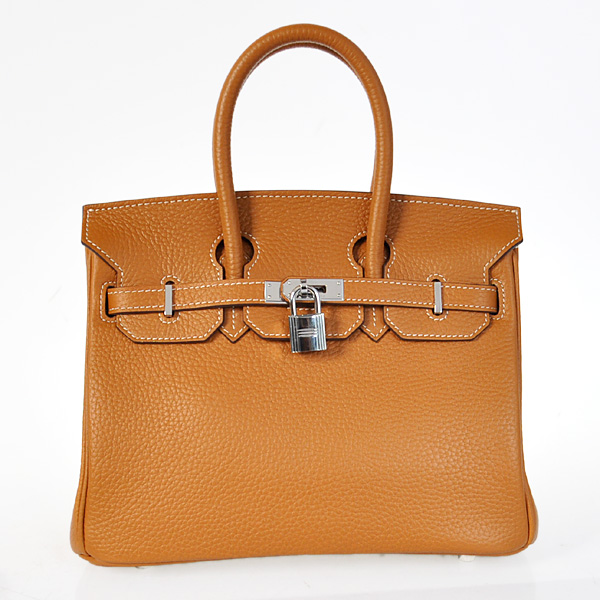 H25LSCS Hermes Birkin 25CM clemence leather in Camel with Silver hardware