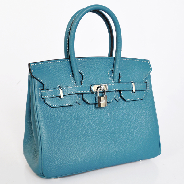 H25LSMBS Hermes Birkin 25CM clemence leather in Medium Blue with Silver hardware