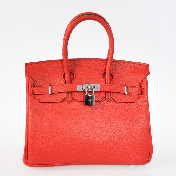 H25LSFS Hermes Birkin 25CM clemence leather in Flame with Silver hardware