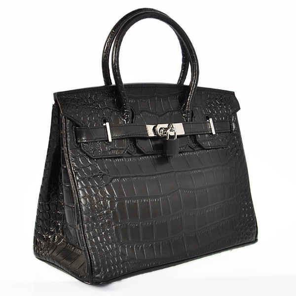H30CSBS Hermes Birkin 30CM Crocodile stripes leather in Black with Silver hardware