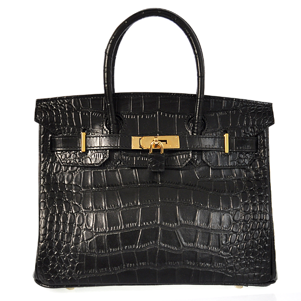 H30CSBG Hermes Birkin 30CM Crocodile stripes leather in Black with Gold hardware