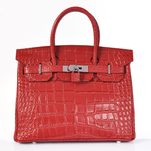H30CSFS Hermes Birkin 30CM Crocodile stripes leather in Flame with Silver hardware