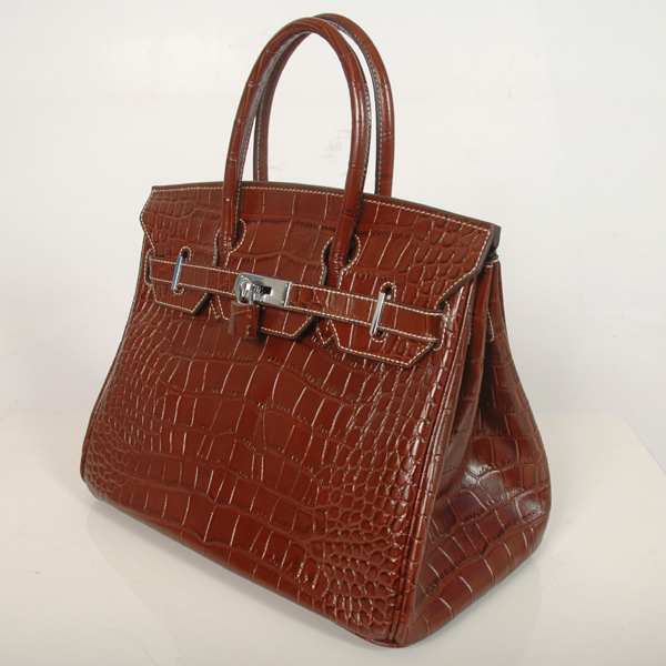 H30CSDBS Hermes Birkin 30CM Crocodile stripes leather in Dark Brown with Silver hardware