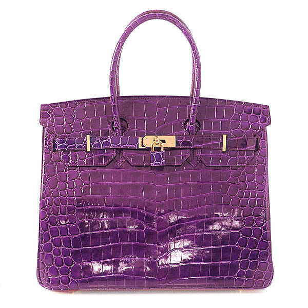 H35 Hermes Birkin 35CM Crocodile leather in Light Purple with Gold hardware