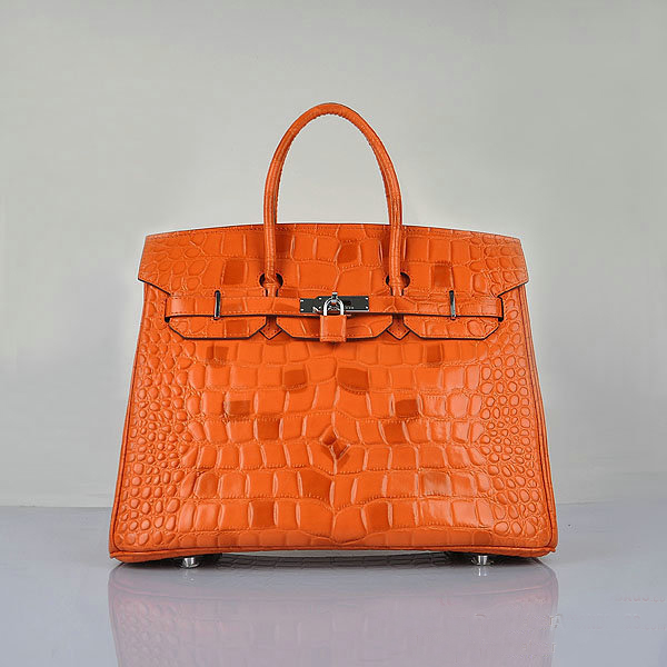 H6089 Hermes Birkin 35CM Tote Bag Croco Leather H6089 Orange