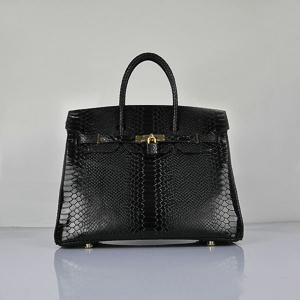 H6089 Hermes Birkin 35CM Black Snake Leather Tote Bag Gold