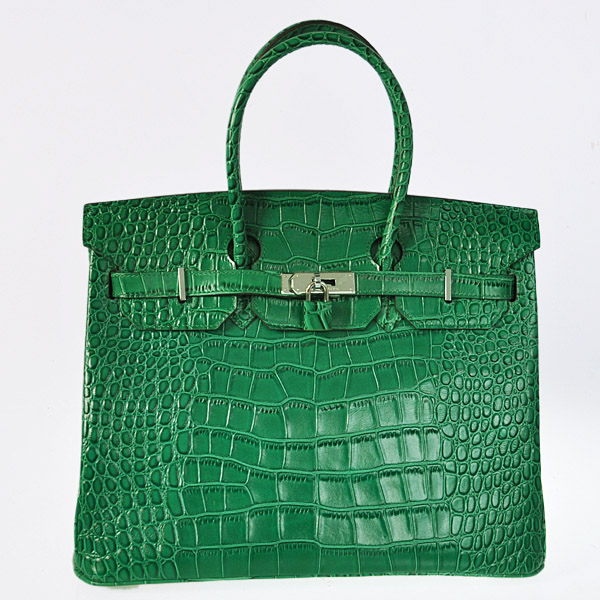 H35CGS Hermes Birkin 35CM Crocodile leather in Green with Silver hardware