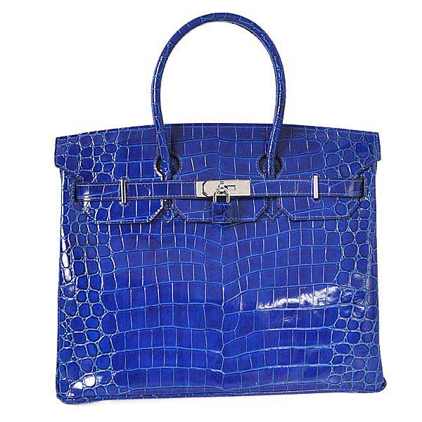 H35HLCBS Hermes Birkin 35CM high light Crocodile leather in Blue with Silver hardware