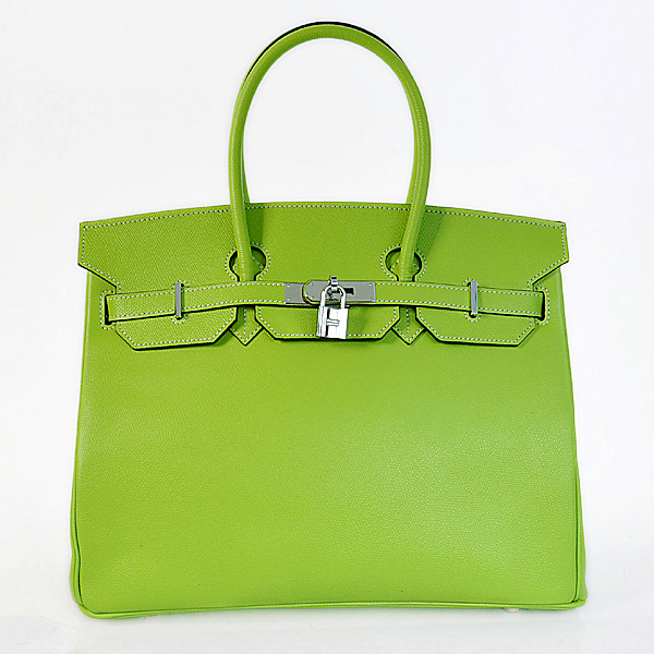H35PSGS Hermes Birkin 35CM Palm stripes leather in green with Silver hardware