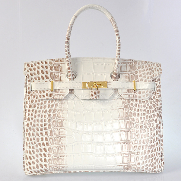 H35CSMG Hermes Birkin 35CM Crocodile stripes leather in Himalayan with gold hardware