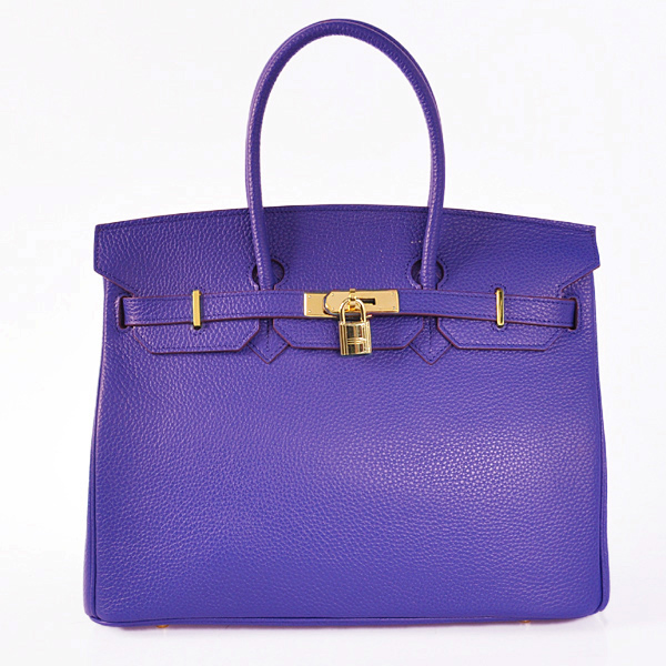 H35LSSG Hermes Birkin 35CM clemence leather in Sapphire with Gold hardware