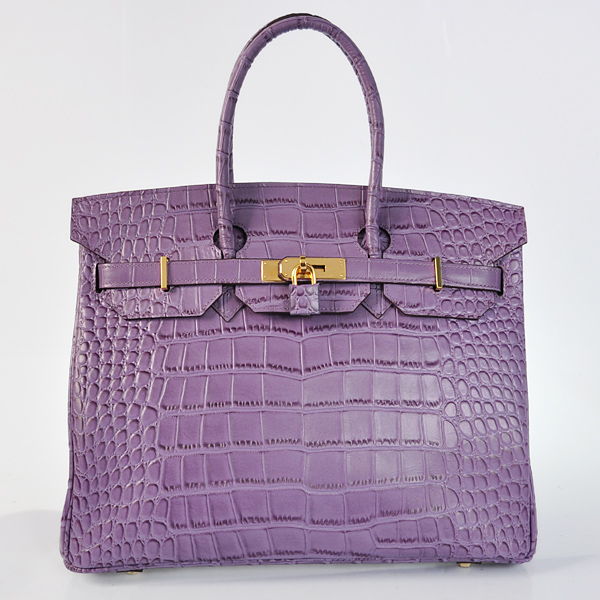 H35CSPG Hermes Birkin 35CM Crocodile stripes leather in Purple with Gold hardware