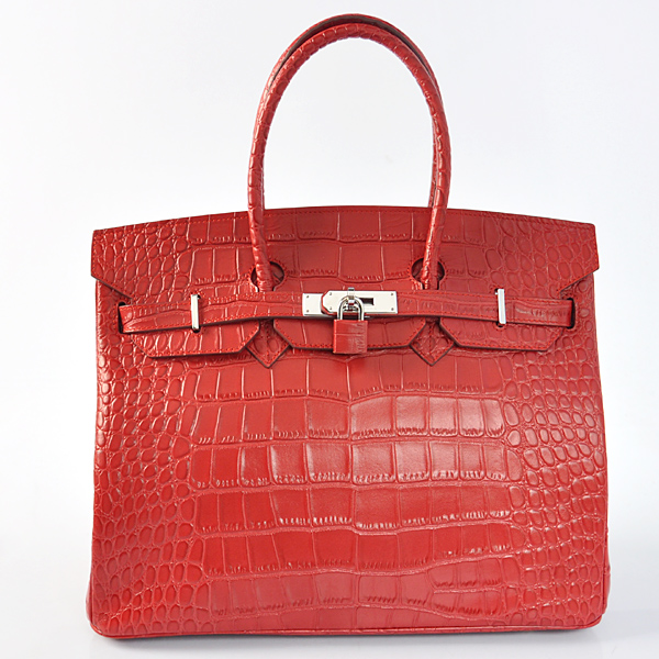 H35CSFS Hermes Birkin 35CM Crocodile stripes leather in Flame with Silver hardware