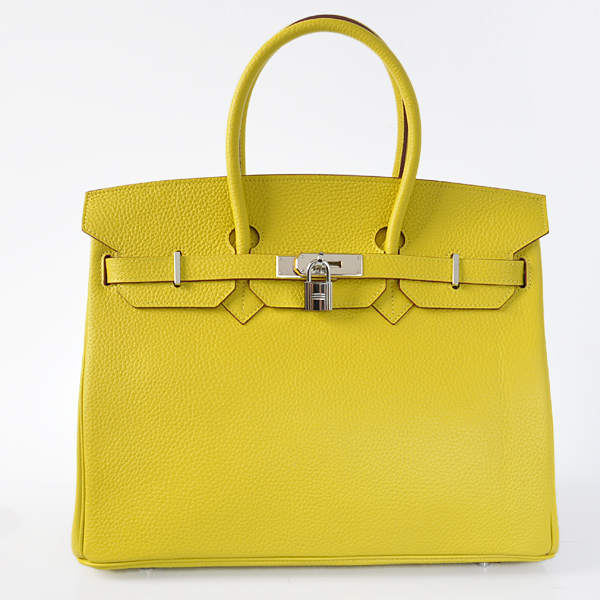 H35LLYS Hermes Birkin 35CM clemence leather in Lemon Yellow with Silver hardware