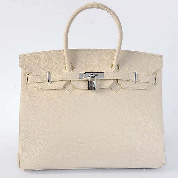 H35LSBS Hermes Birkin 35CM clemence leather in Beige with Silver hardware