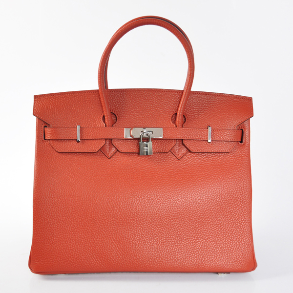H35LCRS Hermes Birkin 35CM clemence leather in Cuckoo red with Silver hardware