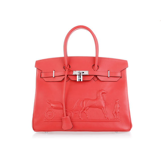 H35 Hermes Birkin 35CM with Embossed logo Handbag Watermelon Red H35
