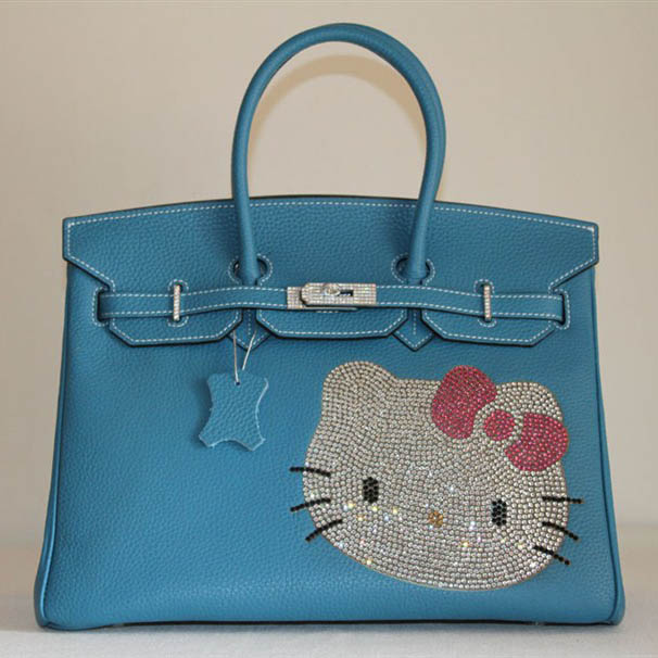HK0001 Hermes Birkin Hello Kitty 35CM Togo Leather Bag Blue HK0001