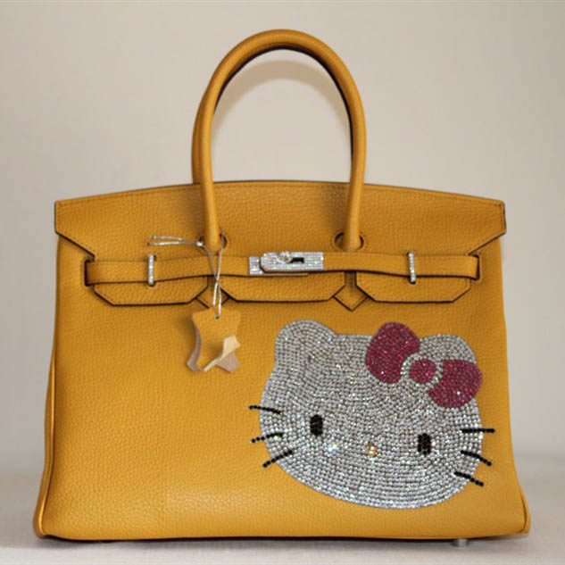 HK0001 Hermes Birkin Hello Kitty 35CM Togo Leather Bag Yellow HK0001