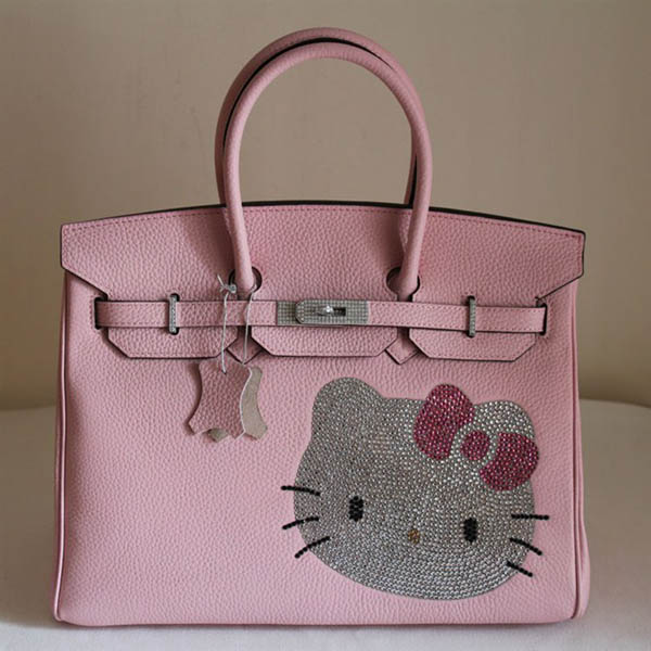 HK0001 Hermes Birkin Hello Kitty 35CM Togo Leather Bag Pink