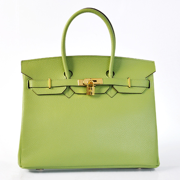 H35LSLGG Hermes Birkin 35CM clemence leather in Light green with Gold hardware