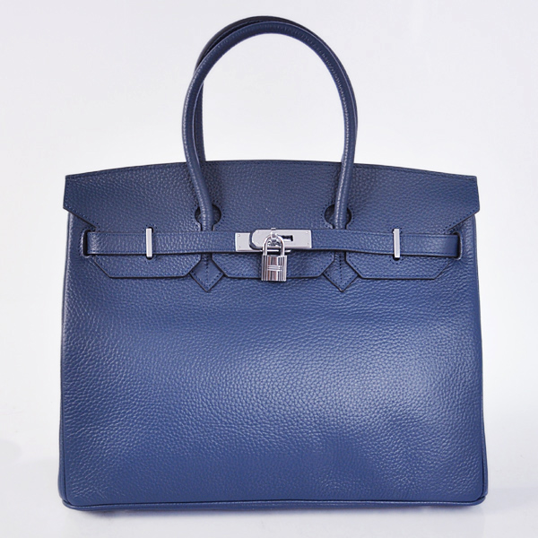 H35LSDBS Hermes Birkin 35CM clemence leather in Dark Blue with Silver hardware