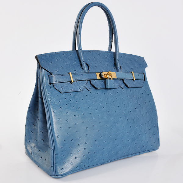 H35POSG Hermes Birkin 35CM Ostrich stripes leather in Blue with Gold hardware