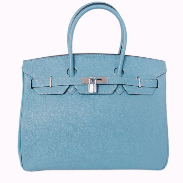 H35POSG Hermes Birkin 35CM togo leather in light blue with Silver hardware
