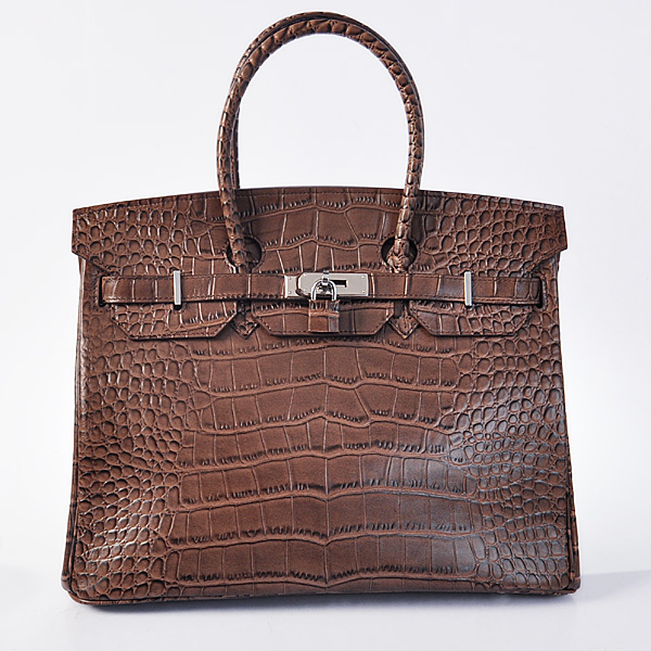 H35POSG Hermes Birkin 35CM Crocodile stripes leather in Dark Brown with Silver hardware